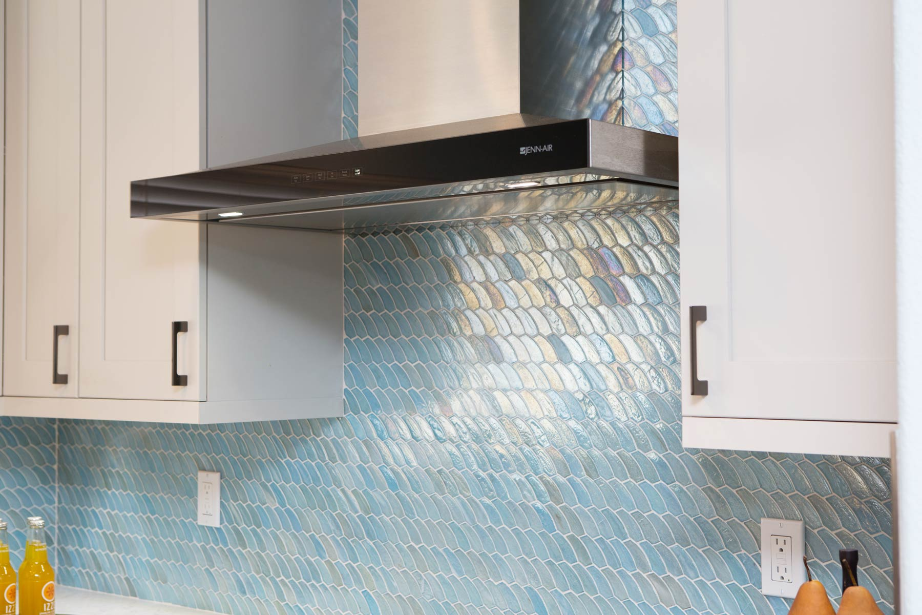 Hawaii kitchen remodel blue backsplash