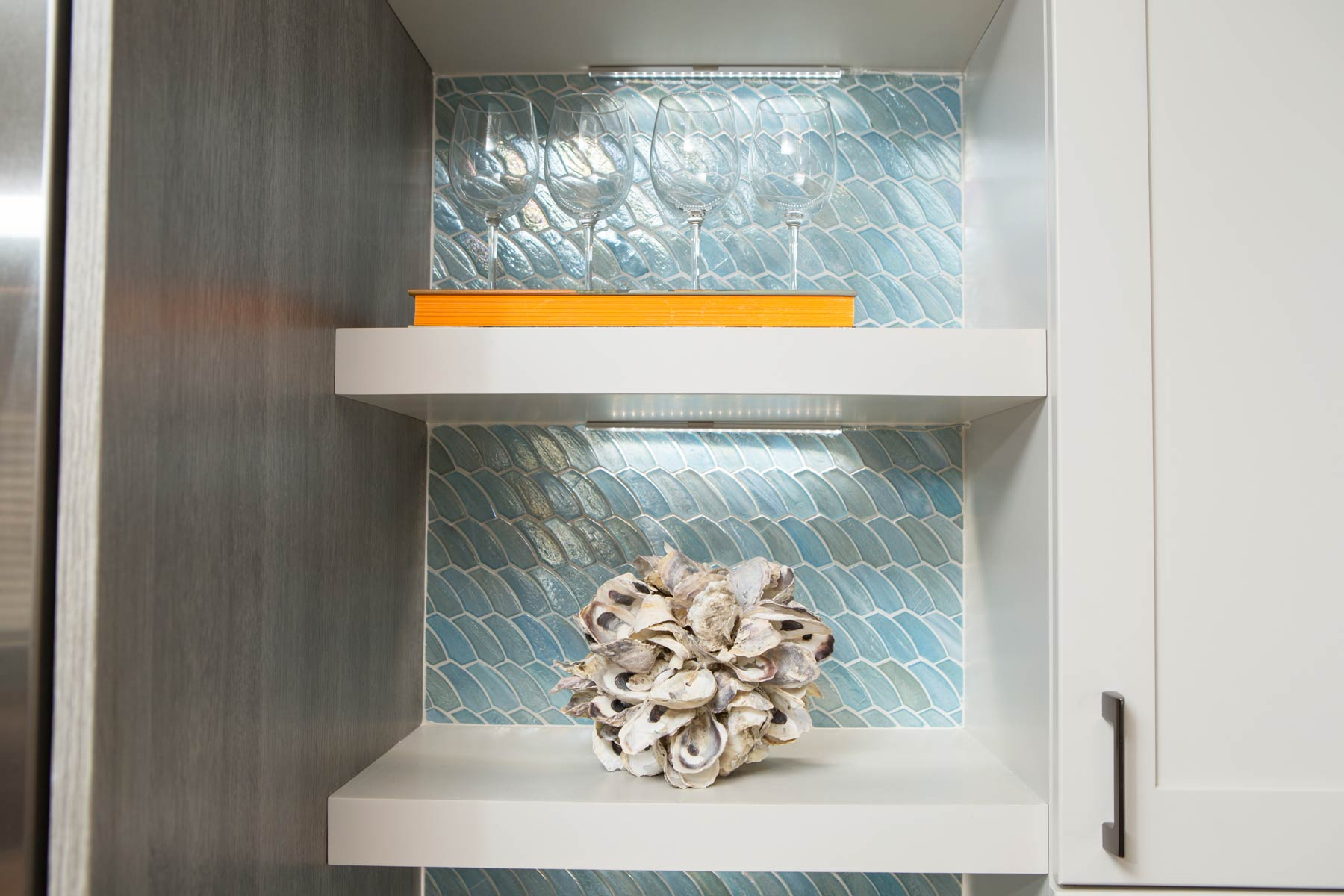 Decorative shelving in kitchen remodel project