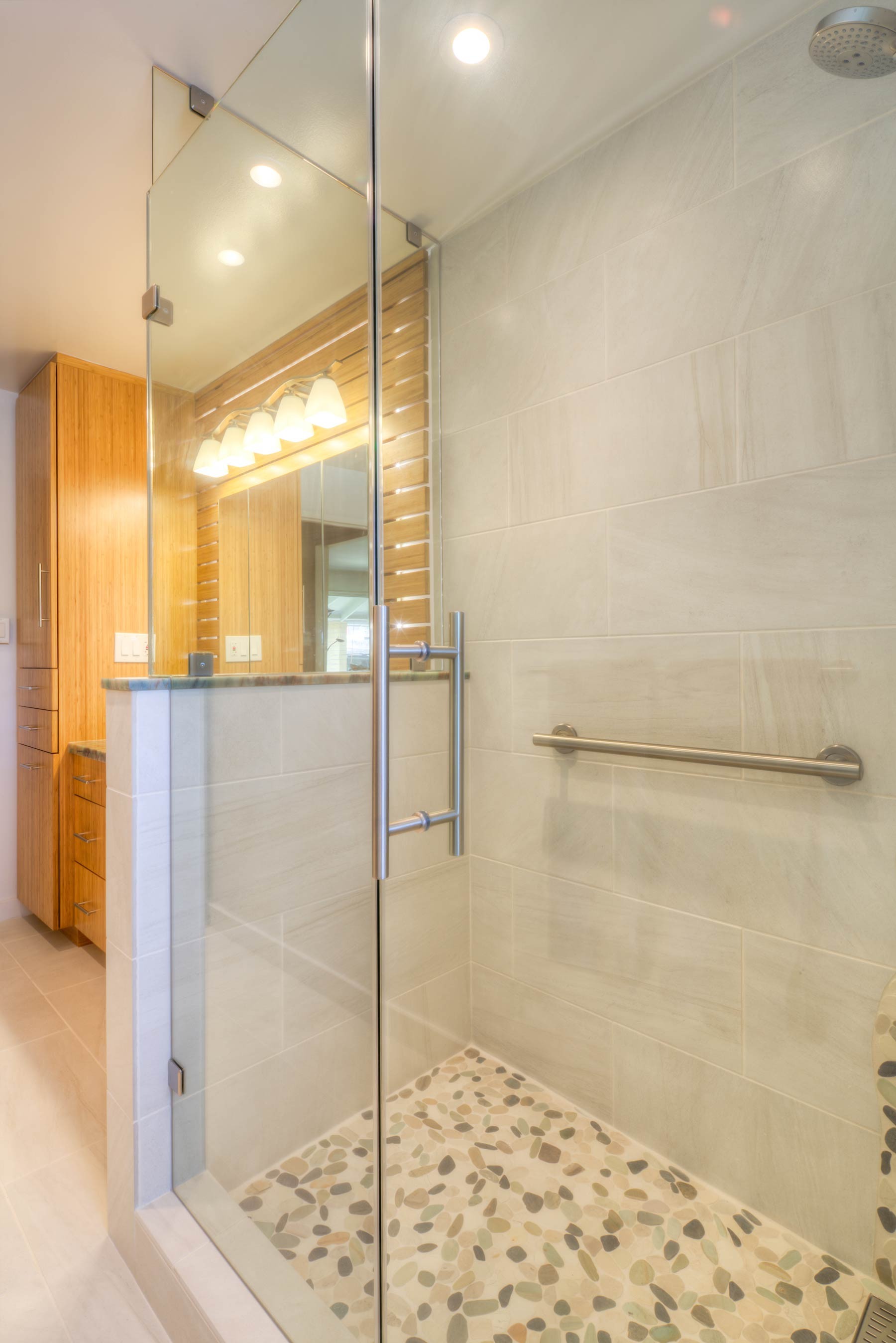 Large shower in remodeled Hawaii bathroom