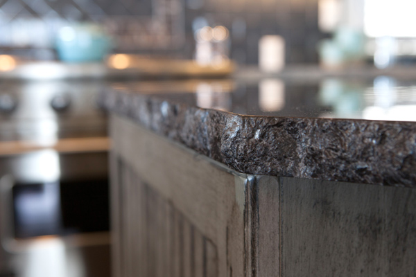 Granite countertop with natural edge